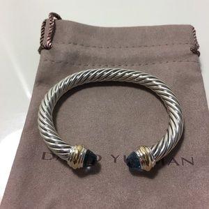David Yurman 7mm Cable Aquamarine Two Tone Bracelt